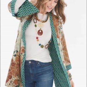 Chico's Reversible Mixed Floral Geometric Kimono 4
